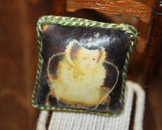 Miniature cushion made by transferring image to fabric  http://stores.ebay.com/happyharvesterminiatures