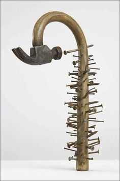"""colin-vian: """" Seyo Cizmic - PTSD (post-traumatic stress disorder) - Redesigned hammer and nails """" Sculptures Céramiques, Wood Sculpture, Abstract Sculpture, Sculpture Ideas, Bronze Sculpture, Scrap Metal Art, Welding Art, Welding Crafts, Welding Projects"""