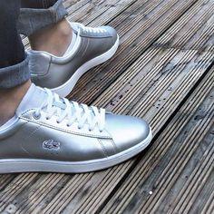 We're liking the Lacoste matte metallics. | Lacoste Light Grey Carnaby EVO 117.  #TOWERLondon #londonproud #london #eastlondon #shoreditch #bricklane #lacoste #lacosteshoes #style #styling #sneakers #trainers #shoes #footwear #sneakerhead #igsneakercommunity #kicks #shoeoftheday