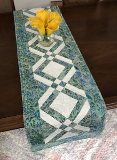 Aqua and White Quilted Tablerunner, Modern Batik Table Runner, Handmade Wallhanging, Reversible Table Quilt, Contemporary Dining Decor by FabriArts on Etsy Dining Decor, Quilted Table Runners, Quilting Tips, Table Toppers, Quilt Making, Quilt Blocks, Quilts, Handmade, Etsy