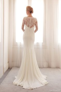 gemy maalouf wedding dresses 2014 bridal gown 3743 back illusion long sleeve lace