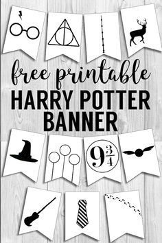 Harry Potter Hogwarts icon banner for party decor , bedroom decor or birthday party decorations. ideas party birthday at home Harry Potter Banner Free Printable Decor - Paper Trail Design Baby Harry Potter, Harry Potter Baby Shower, Natal Do Harry Potter, Harry Potter Motto Party, Cadeau Harry Potter, Harry Potter Banner, Harry Potter Fiesta, Harry Potter Bricolage, Harry Potter Thema