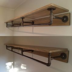 Pipe shelving. Made from metal piping and stained wood. Join our podcast at
