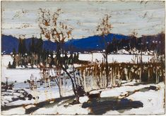 """Winter Thaw,"" Tom Thomson, oil on panel, x private collection. Group Of Seven Paintings, Paintings I Love, Oil Paintings, Emily Carr, Canadian Painters, Canadian Artists, Abstract Landscape, Landscape Paintings, Tom Thomson Paintings"