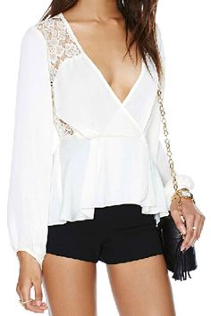 V-neck White Blouse, The Latest Street Fashion  i LOVE This outfit so so so classy by ROMWE.COM