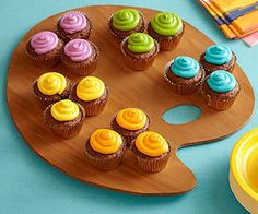 Art Party Idea: To make this state-of-the-art dessert, first bake up a batch of your favorite cupcakes. Once they've cooled, frost them with four or five shades of tinted frosting (for intense tones like those shown, use paste food coloring). To make the serving platter, use a craft knife to cut a palette shape from a sheet of cardboard or foam board. Paint it brown and let it dry before using it.