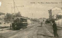 Pavia, via Nizza e la stazione sullo sfondo, inizio XX secolo.