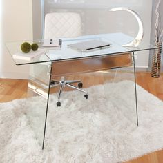 LumiSource Glacier Modern Glass Home Office Desk