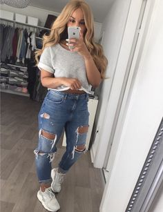 Check out @guapshawty ❤️ Dope Outfits, Jean Outfits, Fall Outfits, Summer Outfits, Casual Outfits, Fashion Outfits, Womens Fashion, Passion For Fashion, Nike Jeans