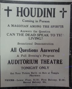 The great Houdini performed in Pocatello, Idaho on October He was one of many famous acts to grace the stage at the Auditorium Theater. Pocatello Idaho, October 23, Auditorium, The Magicians, Genealogy, Theater, Stage, This Or That Questions, History