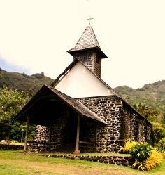 A small chapel on Hiva Oa, Marquesas Islands, French Polynesia.