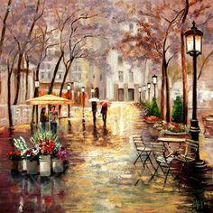 """Paris Sidewalk, Autumn Rain, Flower Stand"" by Yary Dluhos"