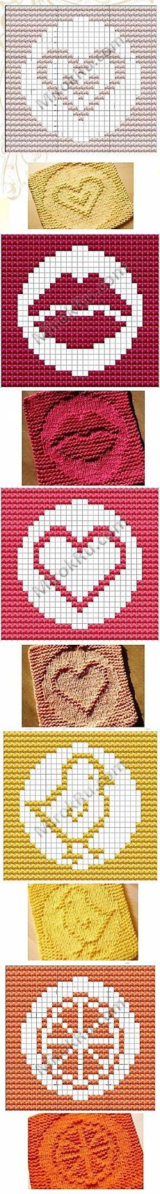 Double heart and lips Dish cloth pattern Bobble Crochet, Bobble Stitch, Granny Square Crochet Pattern, Knit Or Crochet, Filet Crochet, Crochet Stitches, Stitch 2, Knitting Squares, Loom Knitting
