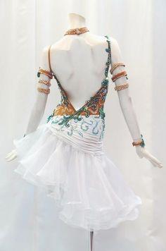 社交ダンスドレスの通販・レンタルなら社交ダンスドレスJJ+ / Lホワイト×グリーン