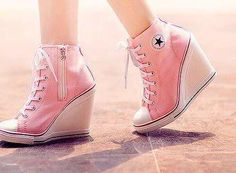 I found 'Converse all star chucks pink wedges heels shoes super cute' on Wish, check it out! But I prefer the black ones