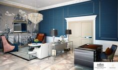 LINLEY Interior Design has produced design options for the interiors of a series of penthouses and apartments at Knightsbridge Private Park. #Interior #Design #Home #Decorating #Decor #Sitting #Room