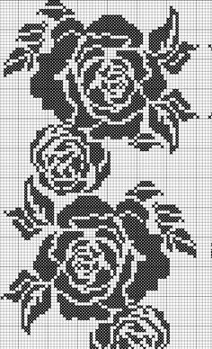 Gallery.ru / Фото #147 - вышивка крестом схемы - kachyta Filet Crochet Charts, Crochet Cross, Knitting Charts, Knitting Stitches, Knitting Patterns, Crochet Patterns, Crochet Top, Cross Stitch Rose, Cross Stitch Flowers