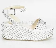 101.99$  Buy here - http://aliwpm.worldwells.pw/go.php?t=32723429766 - Fashion Rivets Med Wedges Shoes Open Toe Ankle-Wrap Leather Sandals Women Shoes Woman Sandals Bordered Casual Buckle Strap Woman