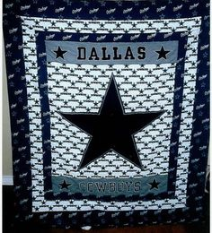 You have to see Dallas Cowboys on Craftsy! - Looking for quilting project inspiration? Check out Dallas Cowboys by member mmauch. Dallas Cowboys Blanket, Dallas Cowboys Crafts, Dallas Cowboys Football, Football Quilt, Baseball Quilt, Cowboy Crafts, Cowboy Quilt, Sports Quilts, How Bout Them Cowboys