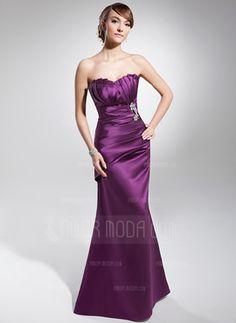Trumpet/Mermaid Scalloped Neck Floor-Length Satin Evening Dress With Ruffle Beading (017014677)