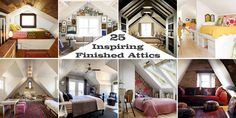 Stretch your remodeling dreams clear to the rafters with 25 inspiring finished attic remodels, featuring bedrooms, living rooms, offices, play rooms, and more.