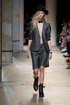 Zadig & Voltaire Spring-Summer 2014 Fashion Show #ParisFashionWeek #Zadig #zadigetvoltaire #hat #suit #black #grey