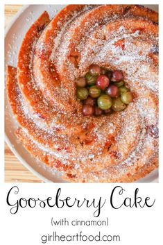 This gooseberry cake is a delicious way to use gooseberries! With plenty of fresh gooseberries and cinnamon, this easy bundt cake recipe is prepped quickly and bakes up wonderfully. It's moist, flavourful and so good with your favourite cup of tea, coffee or milk. #gooseberryrecipe #gooseberrycake #gooseberrycakerecipe #recipeusinggooseberries #bundtcakerecipe #bundtcakewithberries Kitchen Recipes, Baking Recipes, Cake Recipes, Red Currant Recipe, Gooseberry Recipes, Blueberry Bundt Cake, Newfoundland Recipes, Delicious Desserts, Yummy Food