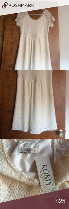 NWT Romy cream dress NWT ROMY cream colored dress. Never worn. Size large. Size zipper. Romy Dresses