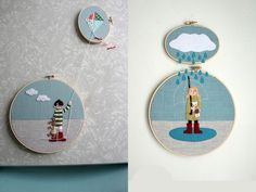 rain and kite Embroidery Hoop Art, Machine Embroidery Designs, Punch Needle Patterns, Felt Art, Baby Room Decor, Kite, Projects To Try, Creations, Cross Stitch