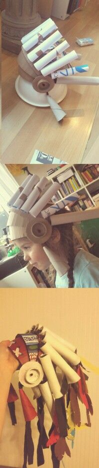 Epic cardboard indian headdress -paper feathers, cardboard, filz, plastic straws and a lot of hot glue♡