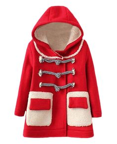 Fleece-lined Flap-pockets Hooded Woolen Coat