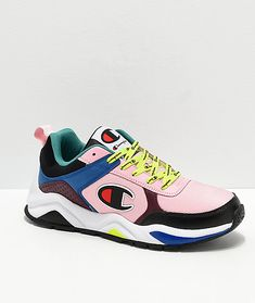 Joining the modern reemergence of bulky silhouettes, Champion introduces their 93 Eighteen Big C Pink and Multi-colorblock Shoes. Imitating the classic footwear of the these sneakers are designed with a colorful colorblock construction, contemporary Tenis Champion, Champion Sneakers, Hot Shoes, Women's Shoes, Nike Shoes, Shoes Sneakers, Sneaker Store, Zapatillas Casual, Nike Tennis