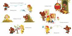Bear and Lolly: Off to School - written by A. Livingston, art by Joey Chou Children's Book Illustration, Character Illustration, Book Illustrations, Joey Chou, Kindergarten Drawing, Kids Activity Books, Kids Story Books, Children's Picture Books, Little Golden Books