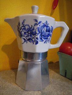 Italian Blue and White Espresso Stove Top Coffee Maker Ceramic and Aluminum via Etsy