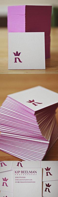 square letterpress business card + edge painting + foil stamp