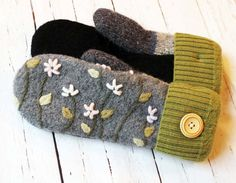 sweater mittens, recycled sweaters, miracle mittens, gift for her, gray green pink, felted wool, warm women's mittens, fleece lined mittens