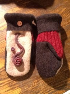 Soft and warm handmade wool sweater mittens by RoundRobinRestyle on Etsy