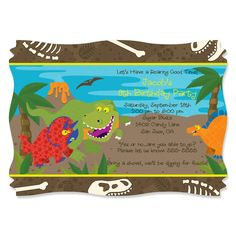 Dinosaur Birthday Party Invitations - Custom Design Printed Birthday Party Supplies - Set of 12 Dinosaur Party Invitations, Dinosaur Party Supplies, Dinosaur Birthday Party, Birthday Party Invitations, Birthday Party Themes, Invites, Big Dot Of Happiness, Personalized Invitations, Printed
