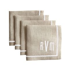 Wedding gift idea! Set of 4 Cocktail Napkins, With Inset Satin Stitch Border, Natural Linen with White