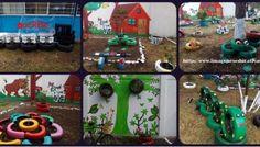 Decoramos nuestro patio con neumáticos y materiales reciclados