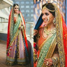 This bride has everything on point ;) The colors, the jewellery and the million dollar smile :') we can't help but smile just a little wider looking at her. : @theweddingcrasherofficial #lehenga #colors #hues #mint #coral #jewellery #haathphool #nathni #mathapatti #pretty #gorgeous #bridalinspo #bridestyle #realbride
