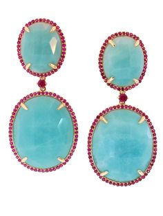 Phillips House 14k Yellow Gold Double Amazonite and Ruby Drop Earrings