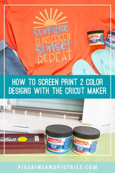Learn how to screen print multi-color designs using your Cricut Maker and Design Space. This tutorial explains how to setup the design and cut it for screen printing on fabric. Screen Printing Supplies, Screen Printing Shirts, Cricut Tutorials, Cricut Creations, Cricut Vinyl, Vinyl Crafts, Silhouette Projects, Cricut Design, Printing On Fabric