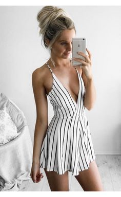 Finer Things Romper stripe / White Fox Boutique