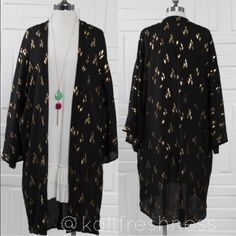 Gold Foil Print Kimono Cardigan --- Sz S Gorgeous long sleeve gold foil print open front cardigan---Kimono style---Woven Polyester---Made in USA---Runs true to size---                              Free gift of your choice with purchase of this kimono Boutique Sweaters Cardigans