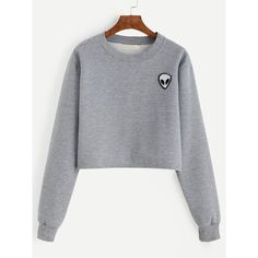 Grey Alien Patch Crop Sweatshirt (36 BRL) ❤ liked on Polyvore featuring tops, hoodies, sweatshirts, sweaters, shirts, crop tops, grey, extra-long-sleeve shirts, grey shirt and pullover sweatshirts