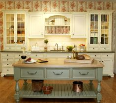 notice the 'feet' on the white kitchen counter cabinets, cool; Trish Namm - traditional - kitchen - new york - Trish Namm, Allied ASID - Kent Kitchen Works Shabby Chic Kitchen Cabinets, Kitchen Island Decor, Country Kitchen Farmhouse, Country Kitchen Designs, French Country Kitchens, Rustic Kitchen, Kitchen Islands, Kitchen Ideas, Farmhouse Kitchens