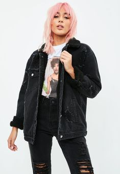 Missguided - Black Borged Lined Denim Trucker Jacket