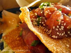 Ahi Tuna Poke Nachos oh my God! I'm going to get wonton wrappers and sashimi grade ahi tuna RIGHT now! I am making these!