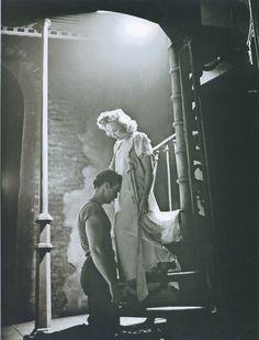 Marlon Brando (3 April 1924—1 July 2004) as Stanley Kowalski and Kim Hunter (12 November 1922—11 September 2002) as Stella Kowalski in A Streetcar Named Desire, 1947.
